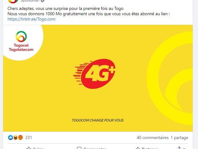 Une fausse page Facebook dénommée «Toogocom» vous promet 1000 Mo gratuitement